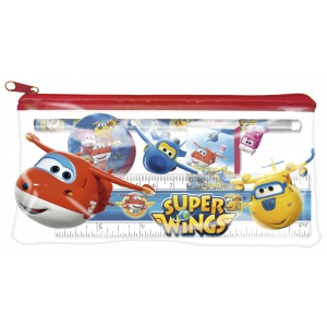 Super Wings Pencil case with school supplies