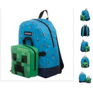 Minecraft Sword Axe Backpack With Detachable Lunch Box