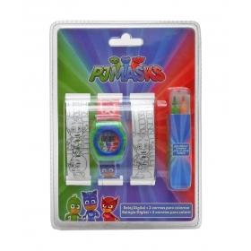PJ Masks wrist watch + colouring watch straps set