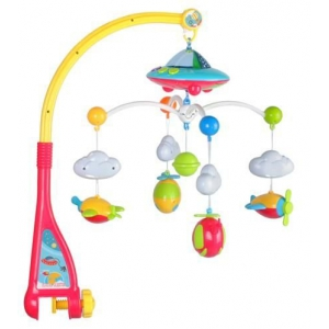 Baby cot carousel with projector – music box + remote control music bed bell cot toys with timing hanging rotating