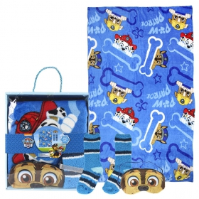 Paw Patrol fleece blanket, blindfold for sleeping and socks set