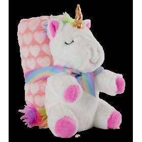 Soft white unicorn plush toy with blanket